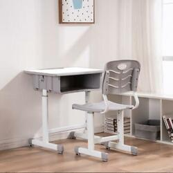 Desk and Chair Set Height Adjustable Kids Children#x27;s Sturdy Table Work Station $79.99