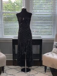 City Triangles Black Halter Prom Ball Evening Formal Gown Medium