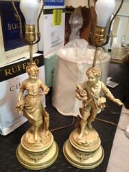 TWO EMILE BRUCHON ANTIQUE LAMPS BOY AND GIRL $115.00