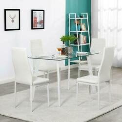 5 Piece Dining Table Set 4 Chairs Glass Metal Kitchen Room Breakfast White NEW $208.59
