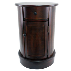 End Table Vintage Door and Drawer Durable Wooden Living Room Furniture Cherry $132.74