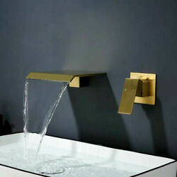 Luxury Solid Brass Brushed Gold Tap Wall Mounted Bathroom Basin Sink Faucet $131.99