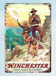 winchester guns and cartridges metal tin sign vintage tin retro rustic signs $16.99
