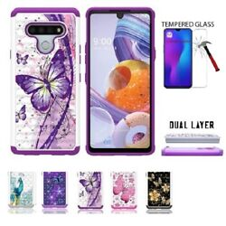 For LG Stylo 6 Studded Rhinestone Crystal Cover Case Tempered Glass $9.75