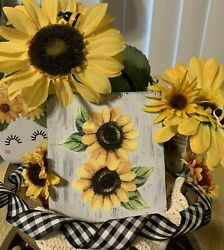 SUNFLOWER MINI SIGN TIERED TRAY FARMHOUSE RUSTIC HOME LOVE SUNFLOWERS DECOR $7.25