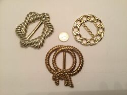 Vintage Lot Of 3 Gold Color T Shirt Slide Scarf Slide Ring Slide Belt Buckle $9.99