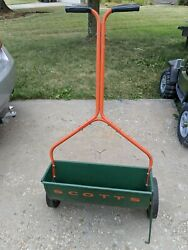 Vintage Scotts Metal Lawn Yard Fertilizer Spreader Drop Seeder model a1 23quot; wide $49.00