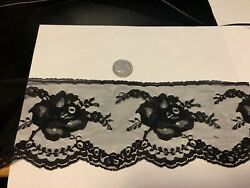 3 amp; 3 4 inch wide delicate black lace with rose motif $1.49