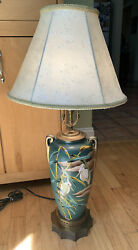 Antique Lamp with embossed Heron Looking Birds Greens with Shade Deco Bronze $89.00