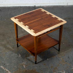 Mid Century Modern End Table Lane Side Walnut Restored Vintage Square Acclaim NM $298.98