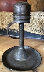 RARE 19TH C TIN WHALE OIL LAMP INSERT IN GREAT ORIGINAL SURFACE $225.00
