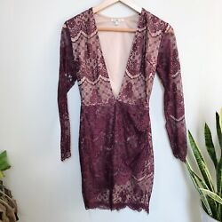 Charlotte Russe Bodycon Cocktail Dress Long Sleeve Lace Plunge Wine Size Small $19.99