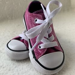VELVET PINK Converse All Star Toddler Size 4 Double Tongue Chuck Taylor Clean $22.95