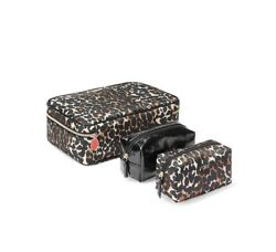 NEW!! Victoria's Secret Exotic Leopard Jetsetter Travel Case  Beauty Bags Set $9.99