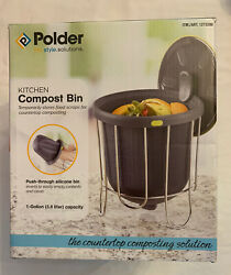 Polder Indoor Portable Lightweight Pop Out Kitchen Composter with Stand Gray $32.95