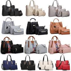 Women#x27;s Pu Leather Tote Purse Handbags Set Satchel Shoulder Crossbody Bag Wallet $19.99