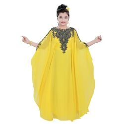 Beautiful Maxi Yellow Full Sleeve Children Kaftan Farasha Party Wear Long Dress $37.99