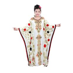Elegant Multi Color Full Sleeve Children Kaftan Farasha Party Wear Long Dress $56.99
