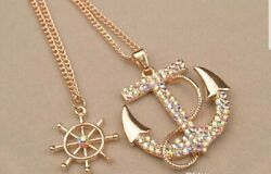 NEW Crystal Anchor Ship Wheel Double Chain and Pendant Necklace Rainbow Bling $6.95