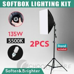 Photography Studio 135W Bulb Softbox Lighting Video Soft Box Light Stand Kit US $35.99