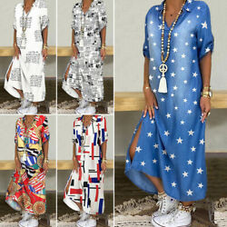 Womens Summer Boho Maxi Dress Ladies Holiday Casual Loose Long Dresses Plus Size $22.69