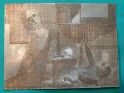 Vtg MCM Mid-Century Modern Art Etched Printing Plate - Man At Table With Fruit   $24.99