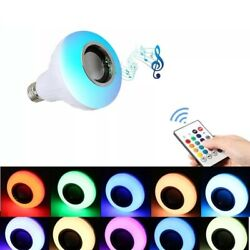 Wireless Bluetooth LED Light Speaker Bulb RGB E27 12W Music Playing lamp Remote $9.95