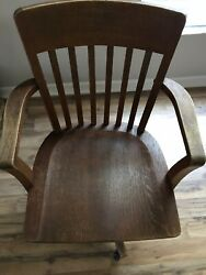 Antique Bankers Chair solid oak wood very good condition  $250.00