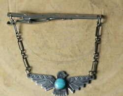 Vintage Navajo Native American Sterling Silver Turquoise Thunderbird Tie Bar