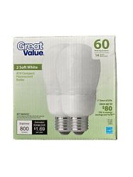 Great Value A19 CFL Bulbs 14W (60W Equivalent) Soft White 2700K (set of 3 bulbs) $14.99