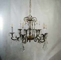 Antique Vintage Chandelier Spanish Bronze 12 Light Ceiling Fixture Crystals $695.00