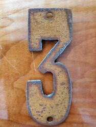 Western Rusty Steel Metal Number 3 Three 6 inch FREE SHIPPING Rustic Decor $7.25