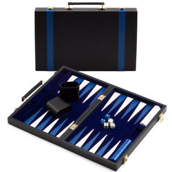 Small Folding Portable Leather Backgammon Travel Board Game Set with Game Pieces $34.99