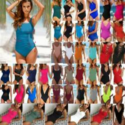 Women Push Up Bikini One Piece Monokini Swimsuit Solid Swimwear Bathing Suit New $12.63