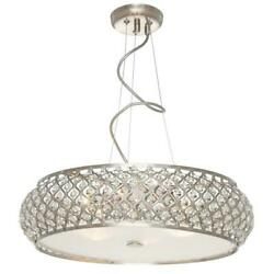 NEW Chandelier Collection 6 Light Brushed Stainless Pendant Light $239 retail $29.95