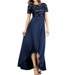 ADRIANNA PAPELL Women#x27;s Embellished Soutache Satin Contrast Gown Dress TEDO