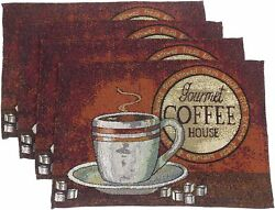 Set of 4 Coffee Themed Placemats 13quot; x 19quot; Gourmet Coffee House Brown Neutral $18.95