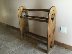 VINTAGE Quilt Rack Stand Hanging Shelf for the Floor Country Wooden Display Rack $110.00