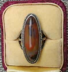 Vintage Navajo Sterling Ring Petrified Wood Native American Old Pawn