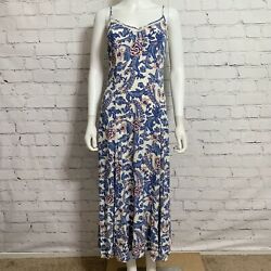 Spell Gypsy Women's Maxi Dress Small White Blue Floral Eyelet Side Slit $119.00