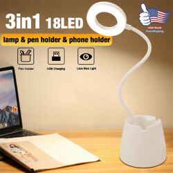 LED Desk Light Table Reading Lamp Dimmable Rechargeable Touch Control Pen Holder $13.99