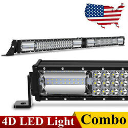 42 INCH 900W FOLDED CURVED LED LIGHT BAR TRI ROW DRIVING OFF ROAD COMBO FOG 44quot; $57.94
