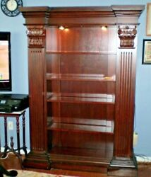 BEAUTIFUL RENAISSANCE STYLED WOOD BOOKCASE FANCY LARGE LIGHTS UP