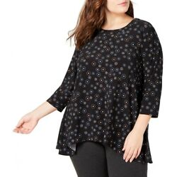 ANNE KLEIN NEW Women#x27;s Black Plus Size Printed Blouse Shirt Top 1X TEDO