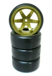 1 10 Scale On Road 6 Spoke Gold Rims Hard Compound Drift Tires 12mm RC Wheels $15.99