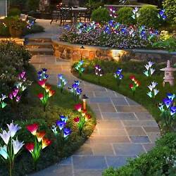 2 Pack Solar Lily Flowers Garden Lights LED Multi Color Outdoor Yard Decor Lamp $15.53