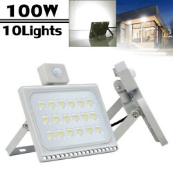 10Pcs 100W PIR Motion Sensor LED Flood Lights Cool White Outdoor Building Lamp