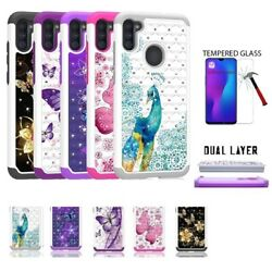 For Samsung Galaxy A11 Studded Rhinestone Crystal Cover Case Tempered Glass $9.98