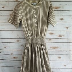 Willi of California Womens Size 10 Maxi Dress Short Sleeve Button Front Vintage $24.59