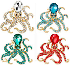 Octopus brooch pin bling antique gold silver plated W crystal jewelry Brooches $2.81